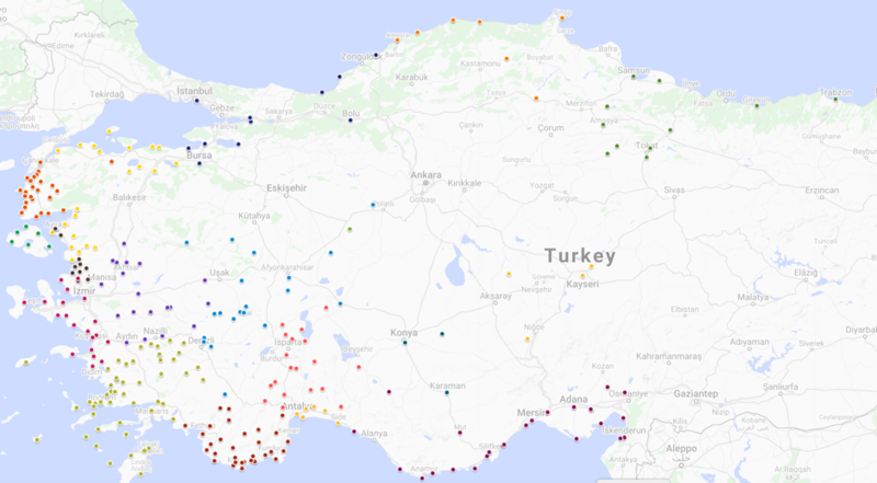 change map of turkey